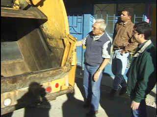 Jack Emery instructs Alfredo how to run the Arvada Rotary Club's new gift to Guachochi..